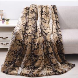 Super Soft Faux Fur Mink Snake Skin Pattern Blanket (Size 200x150 Cm)