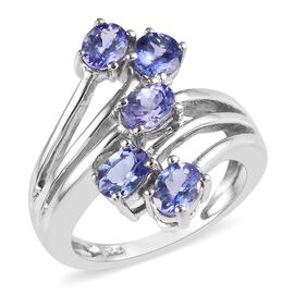 Tanzanite (Ovl) Five Stone Crossover Ring in Platinum Overlay Sterling Silver 1.75 Ct.