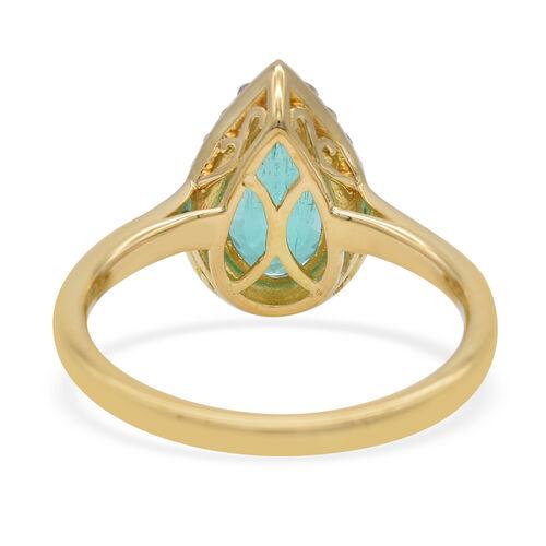ILIANA 18K Yellow Gold AAA Boyaca Colombian Emerald (Pear 10.3x5.67mm), Diamond (SI/G-H) Ring 2.05Ct.