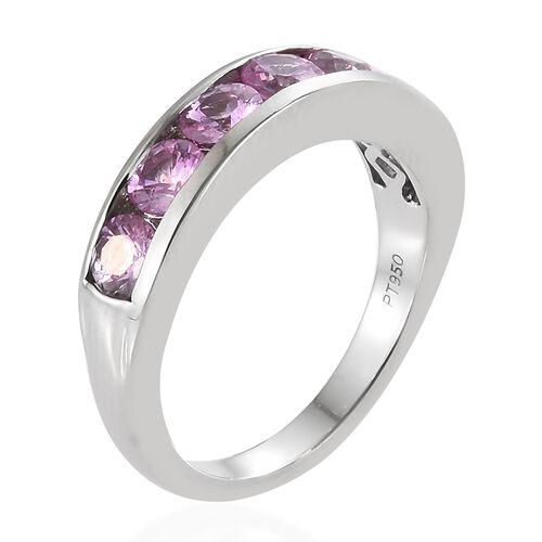 RHAPSODY 950 Platinum AAAA Pink Sapphire (Rnd) Half Eternity Band Ring 1.500 Ct, Platinum wt 5.85 Gms.