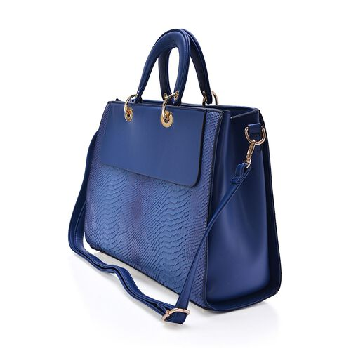 Blue Colour Snake Embossed Tote Bag with Adjustable and Removable Shoulder Strap (Size 37x27x13 Cm)