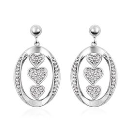 J Francis White Crystal from Swarovski Drop Heart Earrings in Rhodium Plated Sterling Silver