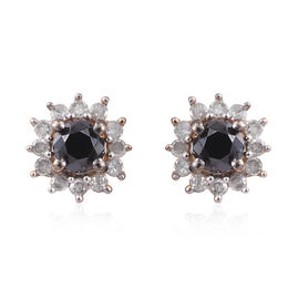 Black and White Diamond (Rnd) Stud Earrings (with Push Back) in 14K Gold Overlay Sterling Silver 0.5
