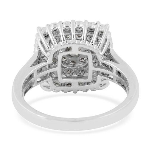 9K White Gold Diamond (I1-I2/G-H) Cluster Ring 0.50 Ct.