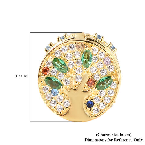 Charmes De Memoire- Simulated Emerald and Multi Colour Gemstone Openable Charm in Yellow Gold Overlay Sterling Silver