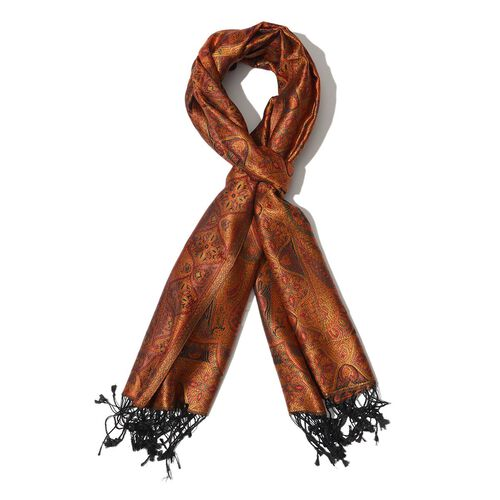 100% Superfine Silk Orange and Black Colour Jacquard Jamawar Shawl with Paisley Motifs and Fringes (