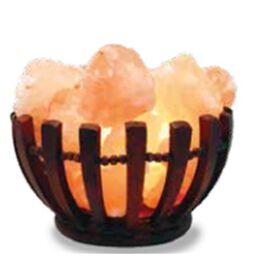 Himalayan Salt Chunks Lamp with Wooden Bowl Basket (Size 13x12 Cm) - Pink 4.5 Kg (9.8 Lbs)