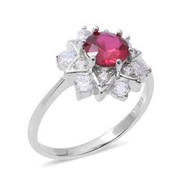 ELANZA Simulated Ruby (Rnd),Simulated Diamond Ring in Rhodium Overlay Sterling Silver
