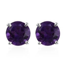 Amethyst (Rnd) Stud Earrings (with Push Back) in Platinum Overlay Sterling Silver 1.50 Ct.