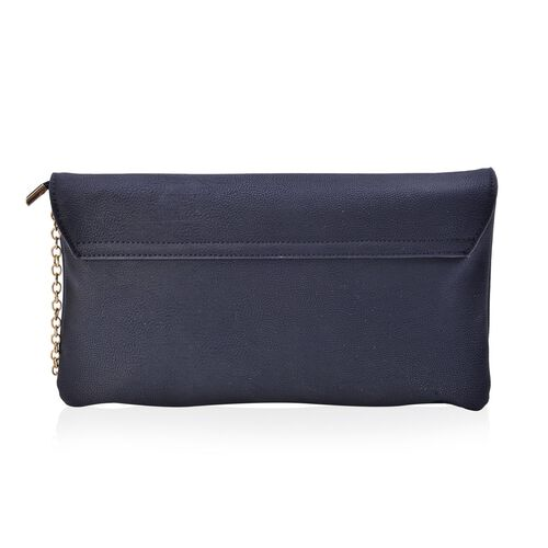 Black Colour Crossbody Bag with Chain Strap (Size 29x16 Cm)