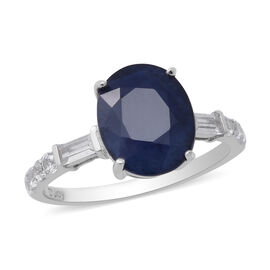 Masoala Sapphire and Natural Cambodian Zircon Ring in Rhodium Overlay Sterling Silver 5.21 Ct.