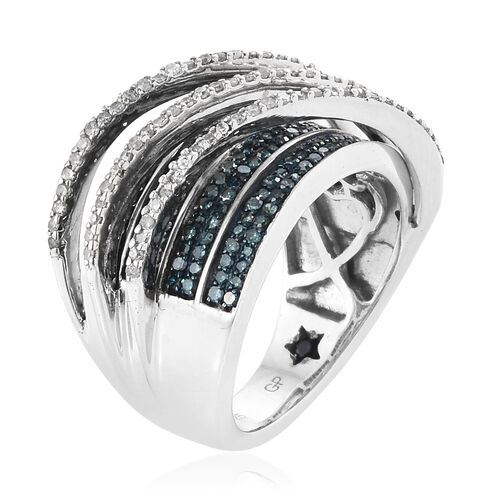 GP Blue and White Diamond (Rnd), Blue Sapphire Ring in Platinum Overlay Sterling Silver 1.070 Ct, Silver wt 7.69 Gms.