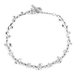 LucyQ Rhodium Overlay Sterling Silver Splat Link Bracelet (Size 7.75), Silver wt 8.17 Gms.