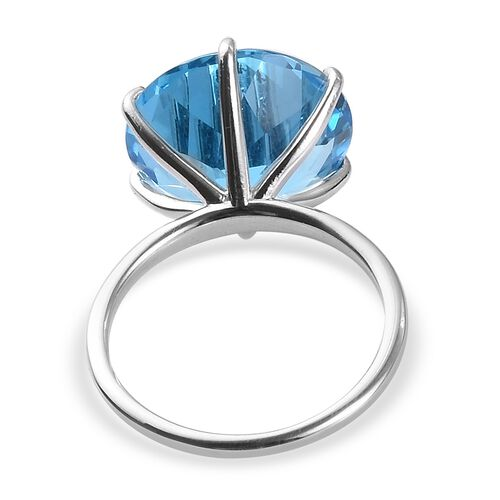 Swiss Blue Topaz Solitaire Ring in Platinum Overlay Sterling Silver  12.00 Ct.