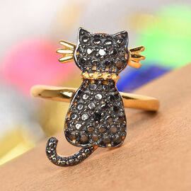 Black Diamond Cat Ring in 14K Gold Overlay Sterling Silver 0.03 Ct.
