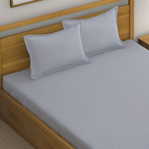 4 Piece Set - Super Soft Copper Infused 1 Fitted Sheet (140x190+30 Cm), 1 Flat Sheet (230x265 Cm) and 2 Pillowcase (50x75 cm) (Size Double) - Light Grey