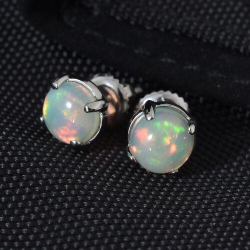 RHAPSODY 950 Platinum AAAA Ethiopian Welo Opal (Rnd) Earrings(with Screw Back) 1.20 Ct.
