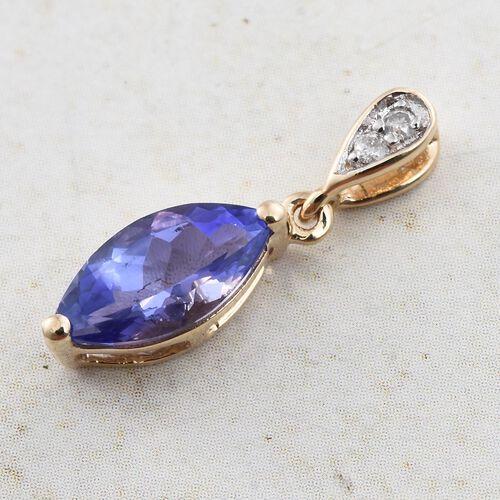 9K Yellow Gold 1 Carat AA Tanzanite Pendant with Diamond