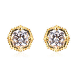 J Francis Made with SWAROVSKI ZIRCONIA Solitaire Stud Earrings in Gold Plated Silver