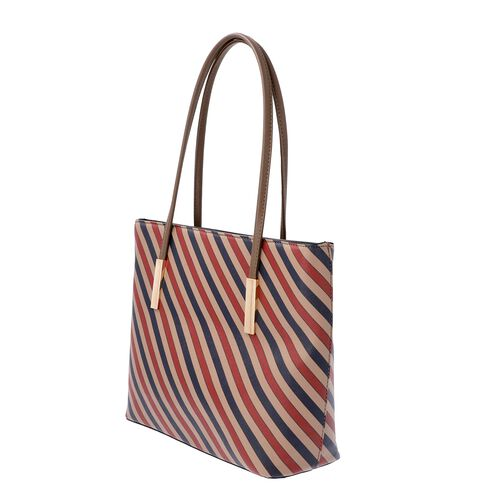 Diagonal Stripe Pattern Tote Bag with Zipper Closure and External Pocket (Size 32x11x26 Cm) - Brown, Navy and Multi