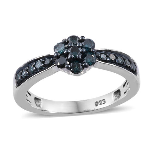 0.50 Carat Blue diamond Cluster Flower Ring in Platinum Plated Sterling Silver
