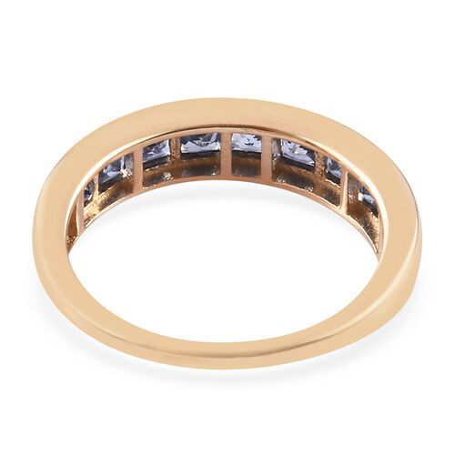 9K Yellow Gold Ceylon Sapphire Princess Cut Half Eternity Band Ring 1.50 Ct.