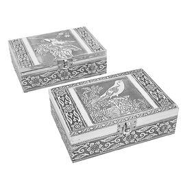 Set of 2 - Bird Embossed Jewellery Storage Box with Blue Velvet Lining (Size 17.7x12.7x5.08 Cm)
