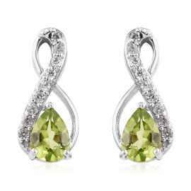 Chinese Peridot (1.33 Ct),Cambodian Zircon Platinum Overlay Sterling Silver Earring  1.750  Ct.