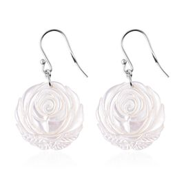 Carved White Mother of Pearl Rose Floral Drop Earrings with Hook in Rhodium Plated Sterling Silver