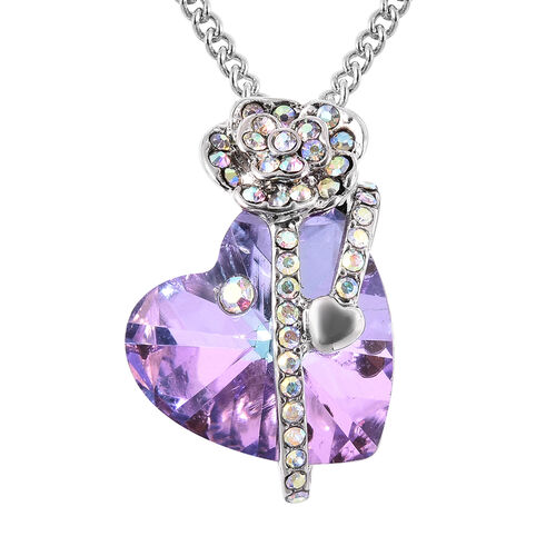 Simulated Purple Quartz and White AB Austrian Crystal Heart and Rose Necklace (Size 20 with 2 inch E