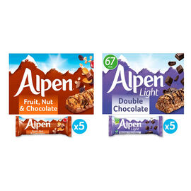 Alpen: Fruit & Nut with Milk Chocolate Cereal Bar - 5X29G & Double Chocolate Cereal Bar - 5X29G (Set