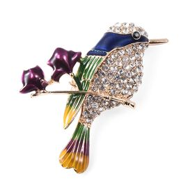 White and Black Austrian Crystal (Rnd) Enamelled Humming Bird Brooch in Yellow Gold Tone