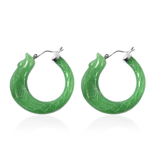Carved Green Jade Phoenix Earrings (with Clasp) in Rhodium Overlay Sterling Silver 80.00 Ct.
