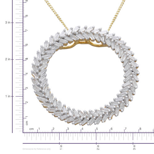 Designer Inspired - Firecracker Diamond (Bgt) Circle Pendant With Chain in 14K Gold and Platinum Overlay Sterling Silver 1.000 Ct.