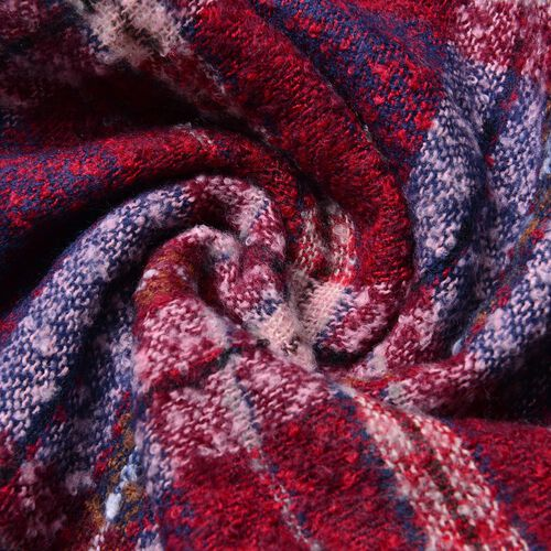 Blue, Red and White Colour Checks Pattern Scarf with Fringes (Size 90X66 Cm)