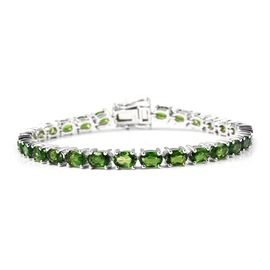 13.75 Ct Russian Diopside Tennis Bracelet in Rhodium Plated Sterling Silver 7.50 Grams 7 Inch