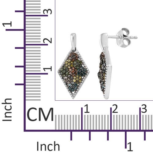 Multi Colour Diamond (Rnd) Earrings (Push Back) in Platinum Overlay with Black Plating Sterling Silver 0.500 Ct,