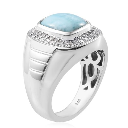 Larimar and Natural Cambodian Zircon Ring in Platinum Overlay Sterling Silver 5.53 Ct, Silver wt 10.00 Gms