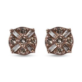 Natural Champagne Diamond Stud Earrings (with Push Back) in Platinum Overlay Sterling Silver 0.150 C