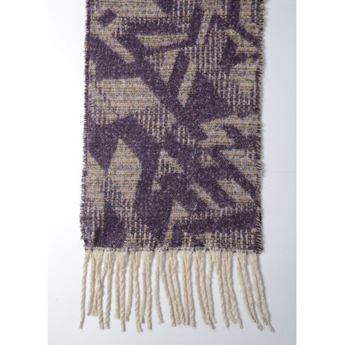 Dark Purple Colour Abstract Pattern Scarf (Size 220x50 Cm)