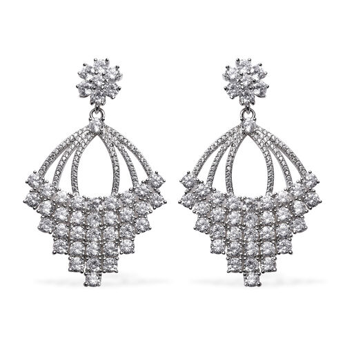Simulated Diamond Dangle Earrings (with Push Back) in Silver Tone