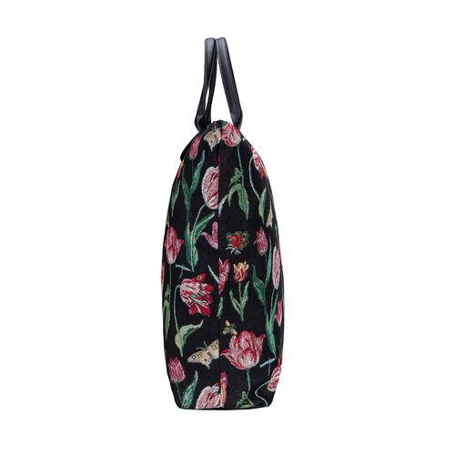 SIGNARE - NEW Tapestry Foldway Shopping Bag in Jacob Marrels Tulip Black Design (30x10x35 cms) - Black