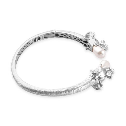 J Francis - Crystal from Swarovski White Pearl Crystal Elephant Head Open Cuff Bangle (Size 7.5) in Silver Tone