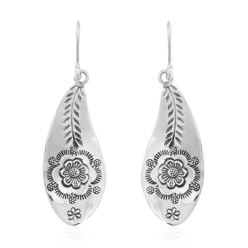 Thai Sterling Silver Floral and Leaves Hook Earrings, Silver wt 6.90 Gms.