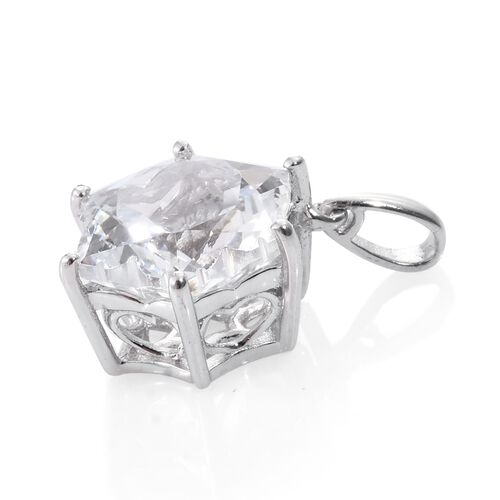 Limited Edition- White Topaz STELLARIS CUT Pendant in Platinum Overlay Sterling Silver 8.750 Ct.