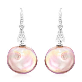 Baroque Pearl Hook Earrings in Rhodium Overlay Sterling Silver