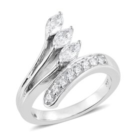 J Francis - Platinum Overlay Sterling Silver (Mrq and Rnd) Bypass Ring Made with SWAROVSKI ZIRCONIA