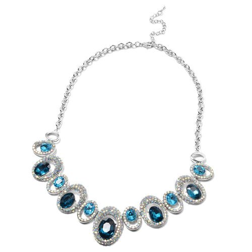 Simulated Aquamarine and Simulated Mystic White Crystal Necklace (Size 24 with Extender) in Silver Tone