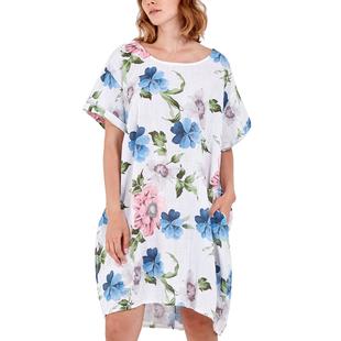 Nova of London - Floral High Low Linen  Two Pocket Dress (Size 8-18) - White