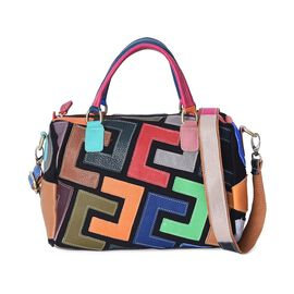 100% Genuine Leather Multi Colour Tote Bag with Detachable Shoulder Strap and Zipper Closure (Size 2